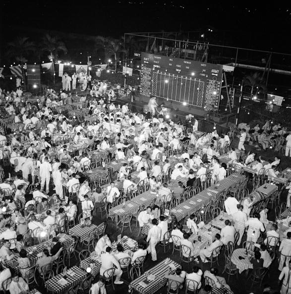 Aerial view of the dinner held at the Army and Navy Club during the radio broadcast of the anuual Army-Navy football game, Manila, Philippines, November 29, 1941. (Source: manilanostalgia.com)