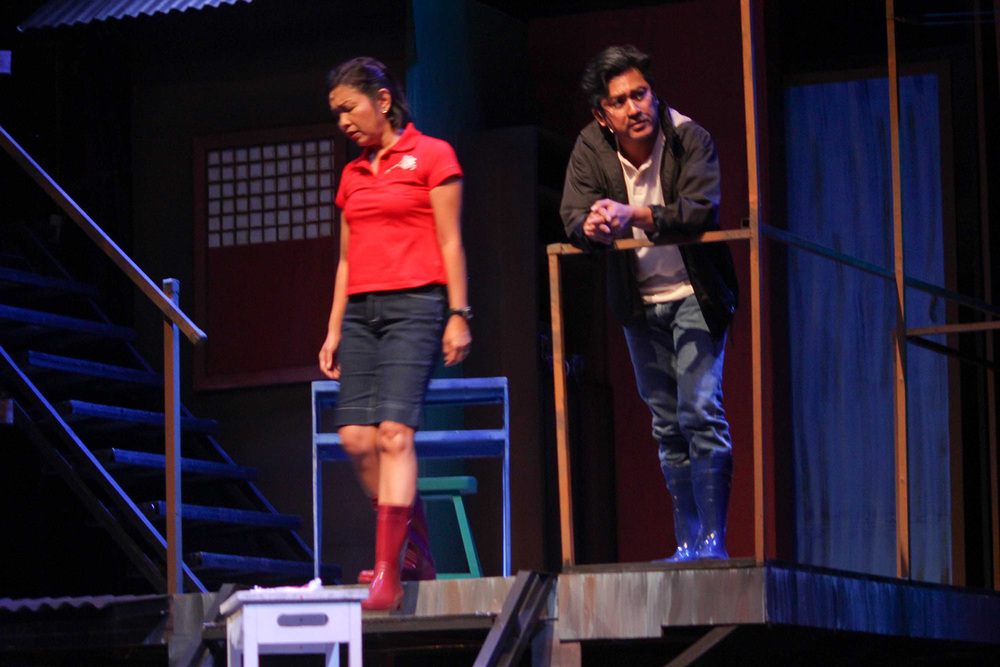 "Real life couple and theater veterans Isay Alvarez Seña (Mary Jane) & Robert Seña (Kiel). ""Rak of Aegis"" is a musical based on the hits of 90's band Aegis. It runs until March 9, 2014 at the PETA Theater Center. (Photo by Jude Bautista)"
