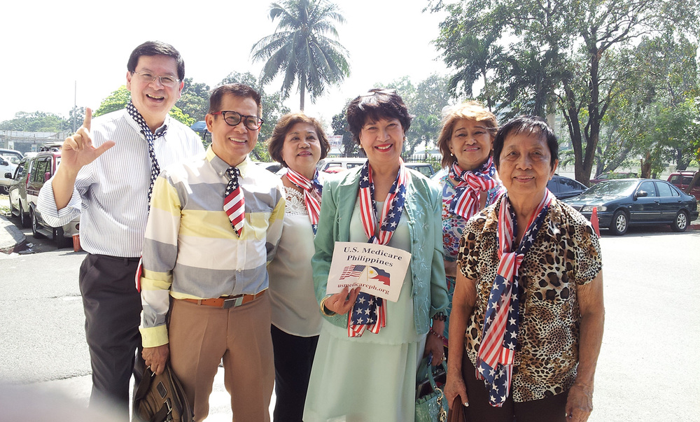 In front of US Embassy on Roxas Boulevard (L to R): Eric Lachica, Rusty Francisco RN, Lily Chan RN, Daisy Tucay RN, Susan Jimenez RN and Lourdes Ceballos of Nevada of US Medicare PH advocacy organization. (Photo courtesy of Eric Lachica)