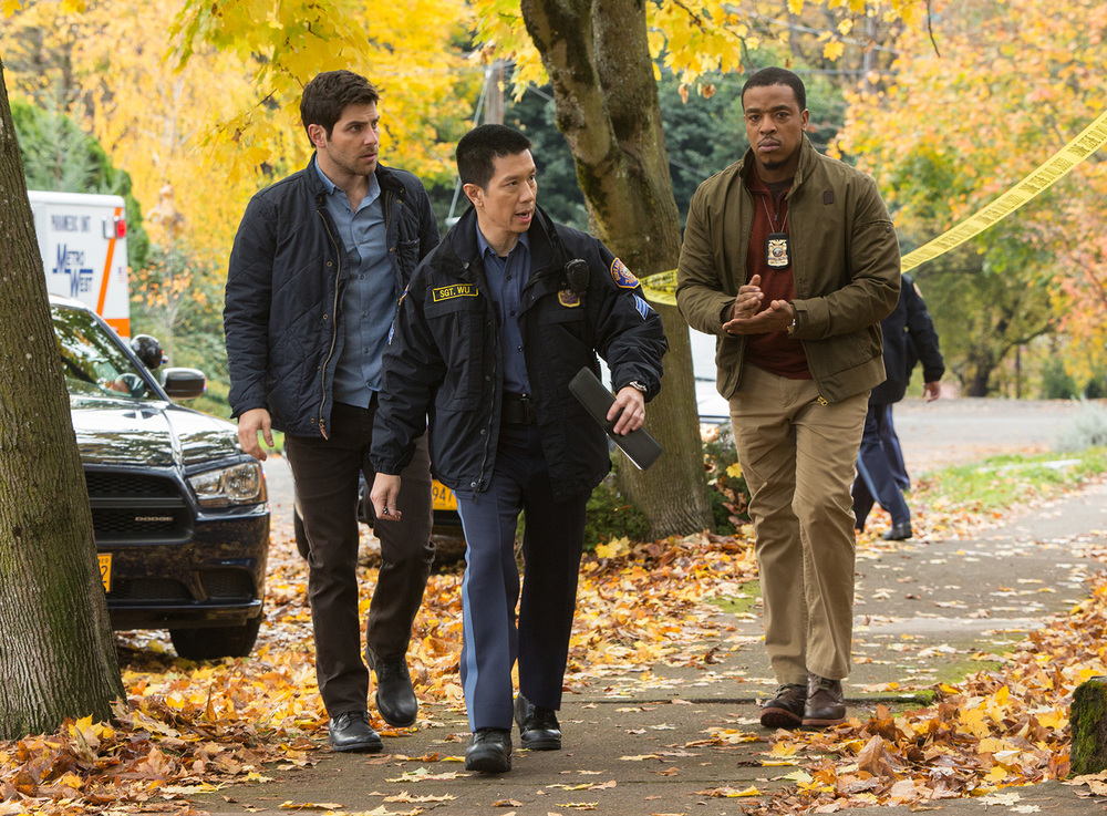 "Reggie Lee (center) stars alongside David Giuntoli (left) and Russell Hornsby in NBC's fantasy/detective series ""Grimm"" (Photo by Scott Green/NBC)"