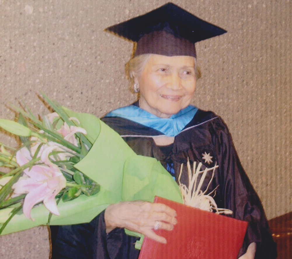 Consuelo Dancel Sison graduating with a master's degree in education management in 2010 at 89 years old  (Photo courtesy of the Sison Family)