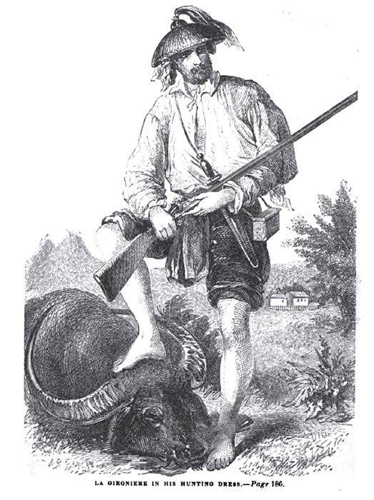 La Gironiere in his hunting dress (Source: Twenty Years in the Philippines by Paul P. De La Gironiere, Harper & Brothers, 1854)