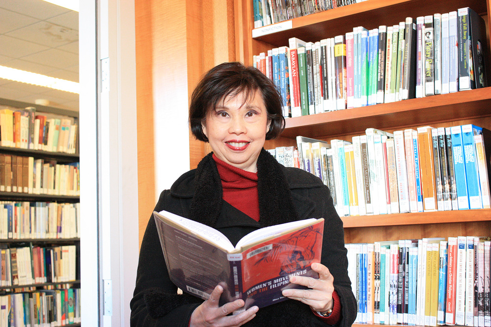 "Mina Roces with her latest book, ""Women's Movements and the Filipina, 1986-2008"" (Photo by Astrid M. Barros)"