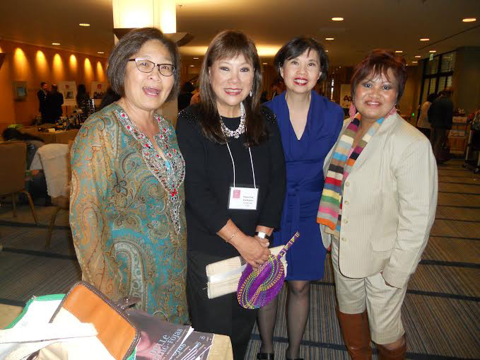 Mina Roces, third from left, at the Philippine International Aid (PIA) annual fundraiser in San Francisco, with Maya Ong Escudero of the Filipina Women's Network (FWN), Mona Lisa Yuchengco of PIA and Edna Biscocho-Murray of Alliance for Community Empowerment (ALLICE) (Photo by Elena Mangahas)