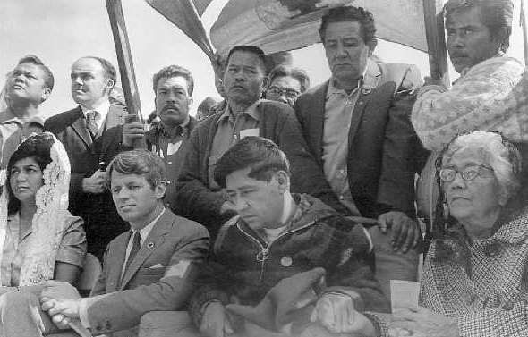 Cesar Chavez's (left) National Farm Workers Association and Larry Itliong's Agricultural Workers Organizing Committee merged to form the United Farm Workers  (Photo courtesy of FAHNS)
