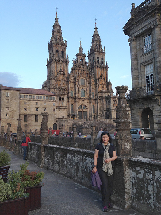 The author at the Santiago de Compostela Cathedral, where the remains of St. James the Great were buried  (Photo by Patricia Araneta)