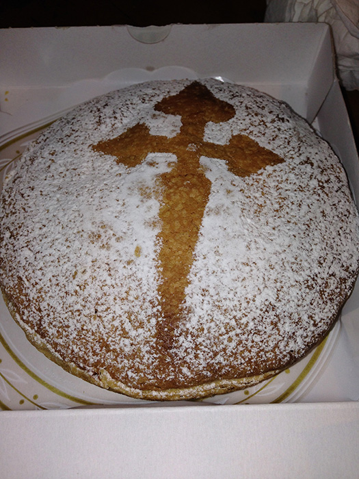 Tarta de Santiago, an almond cake, a delicacy of Santiago de Compostela with the cross of Santiago (Photo courtesy of Patricia Araneta)