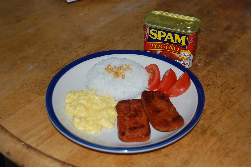 SPAM Tocino served with garlic fried rice, eggs and tomatoes  (Photo by Raymond Virata)