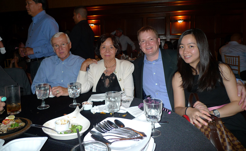 The personal vintner (third from left) learned the perfect pairing of wine and food from his father Norm Wagner (from left) but named his hobby after his mother, the former Adela Valisno. At right is wife-enabler Susan Shen-Wagner. (Photo courtesy of Cherie Querol Moreno)