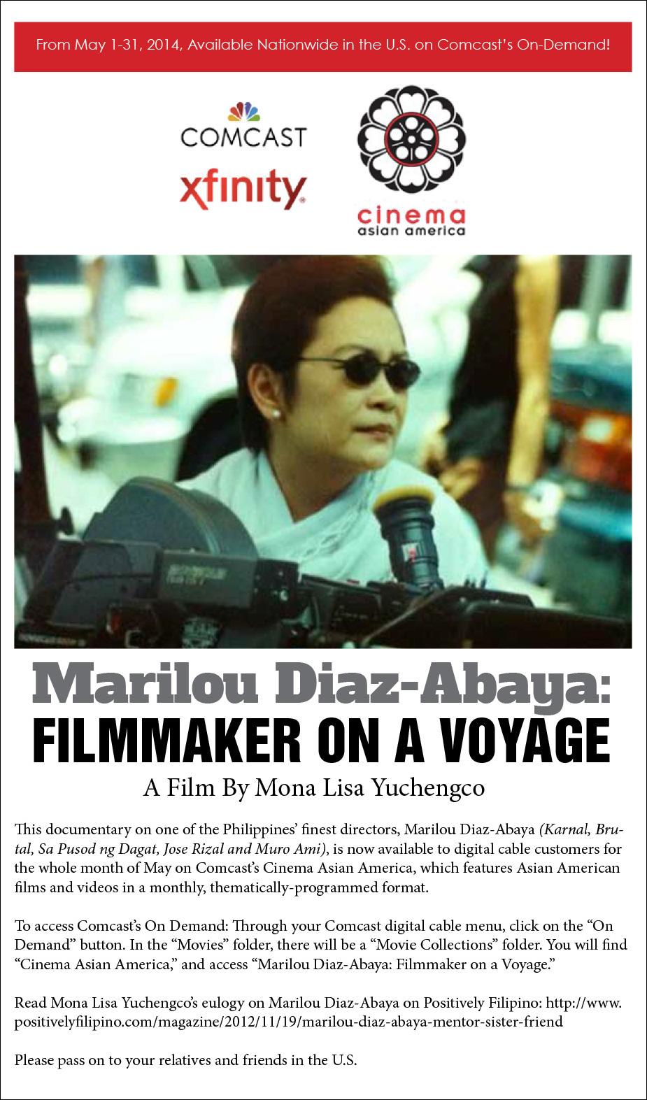 """Marilou Diaz-Abaya: Filmmaker on a Voyage."""