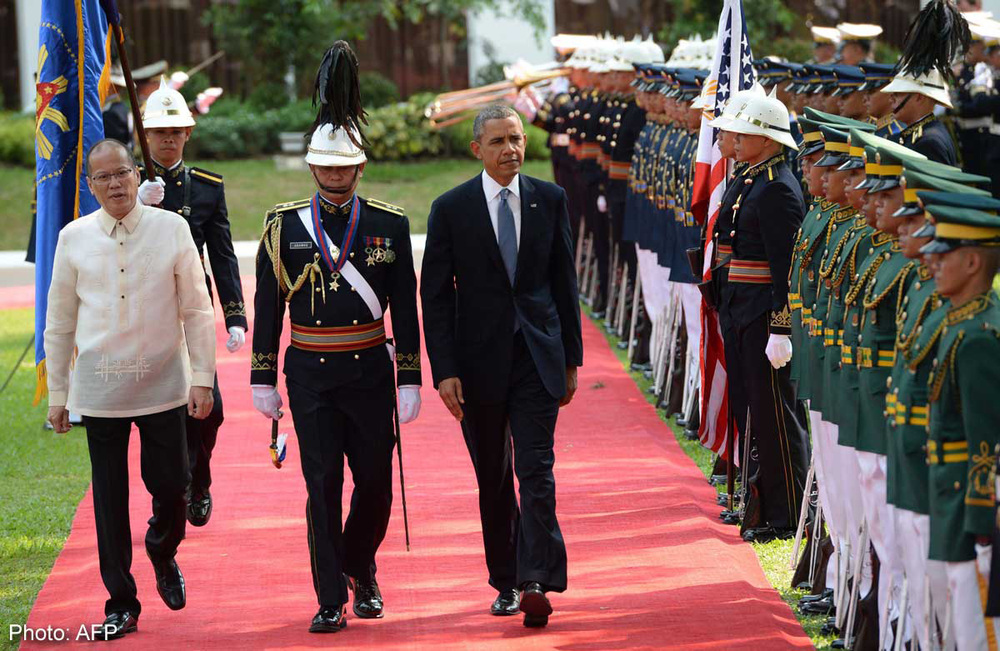 President Barack Obama arriving in the Philippines for a state visit (Photo by AFP)