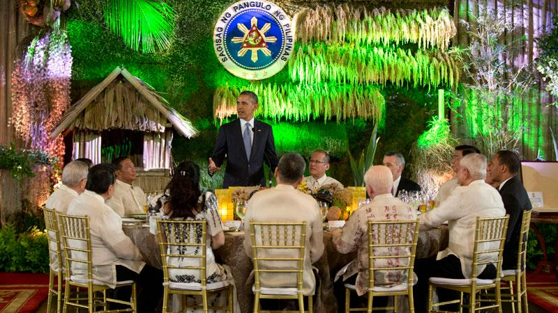The state dinner for President Barack Obama at Malacañang Palace (Source: Inquirer.net)