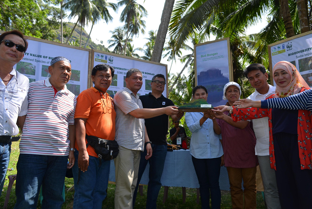 Officials from the DENR, led by Bongao Mayor Jasper Que, Governor Nurbert Sahali, Congresswoman Ruby Sahali, WWF-Philippines Vice-president for Conservation Programmes Joel Palma, Tawi-Tawi Project Manager Dr. Filemon Romero and DENR Protected Areas Specialist Ariel Erasga, formally turn over the management of Bud Bongao to the local government of Tawi-Tawi. Bud Bongao and adjacent Bud Kabugan are the first biodiversity bastions of the ARMM to be fully-administered by the local government. In Tausug, 'Bud' means 'peak'. (Photo by Gregg Yan)