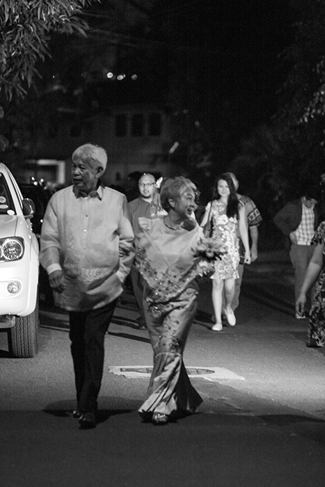 The newlyweds -- Bella Apelo Bonner and Bert Cayabyab -- walk to their wedding reception (Photo courtesy of Bella Bonner)