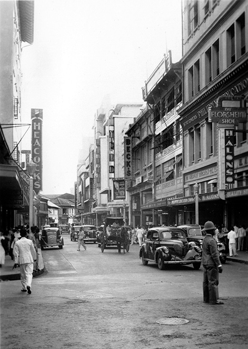 Escolta—1935. Beck's on the right side and Heacock's across the street (Source: Manila Nostalgia)