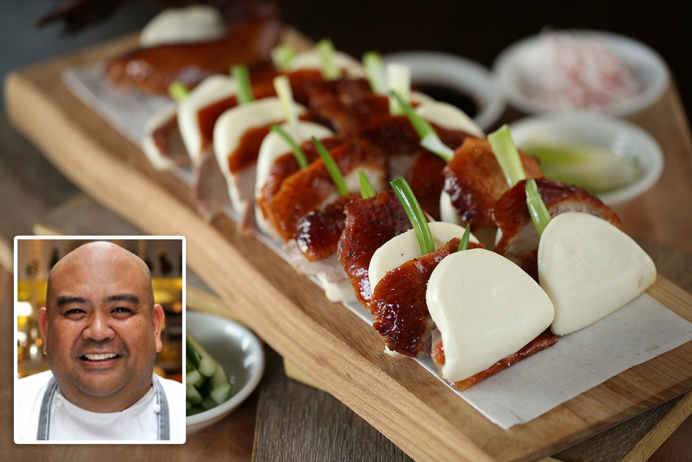 Inset: Chef Rodelio Aglibot (Photo by Intrestco). Top: Aglibot's Peking Duck in Buns (Photo by Kenny Kim).