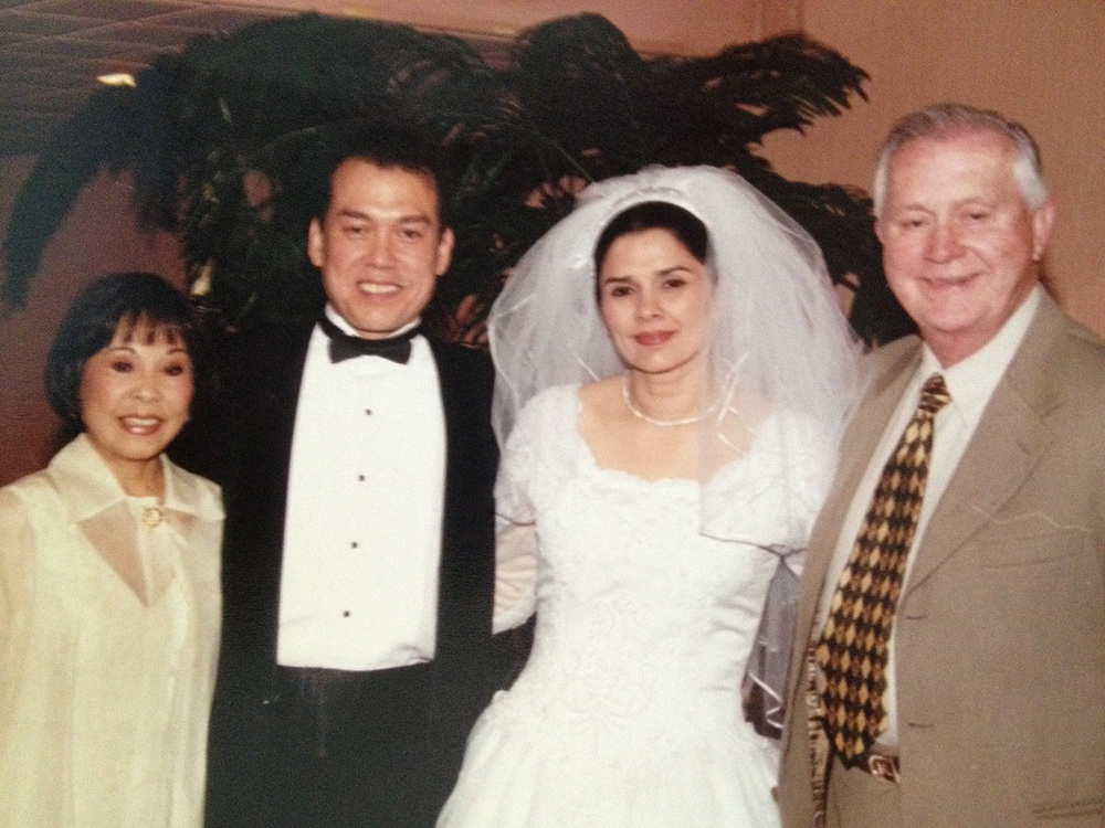 Wedding day with mom Pris (left) and Ralph's stepdad Donald Hunt (right) (Photo courtesy of Susan Reid Moore)