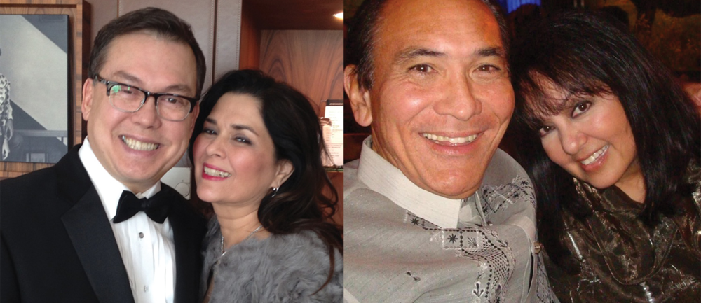 Right: Ralph and Susan Reid Moore (aka Hilda Koronel) (Photo courtesy of Susan Reid Moore). Left: Becca Godinez and Benito Miranda (Photo courtesy of Becca Godinez).