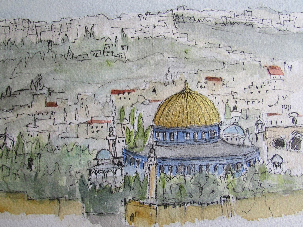 Nothing prepares you for the feeling you get when you see the Old Walled City of Jerusalem for the first time. It touches you at your core, strange...yet you feel you belong. No wonder this area has been fought over for many centuries. Everyone wants to own it because they feel this is where their soul was born. (Illustration by Jojo Sabalvaro-Tan)