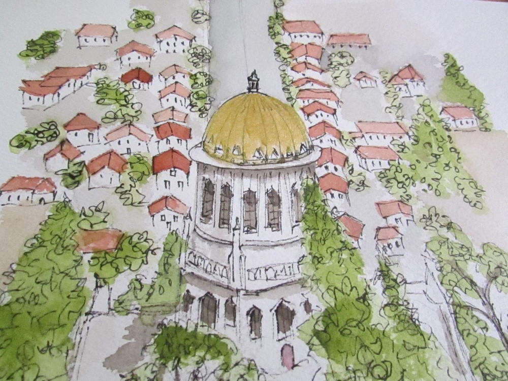 The Baha'i Gardens in Haifa (Illustration by Jojo Sabalvaro-Tan)