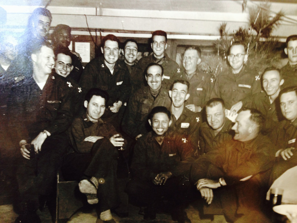 Capt. Melchor Diokno (center, front) with the other officers while stationed in Korea, 1953-54. (Photo courtesy of Ed Diokno)
