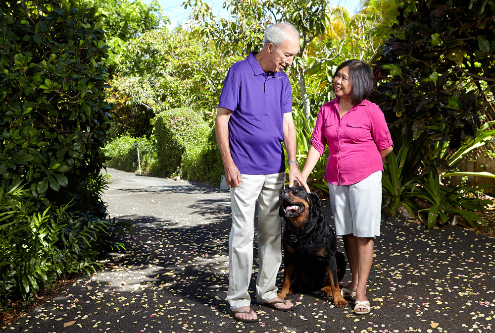 Emme and husband Jim and dog Rufus are each other's caregivers. (Photo by Brian Suda)