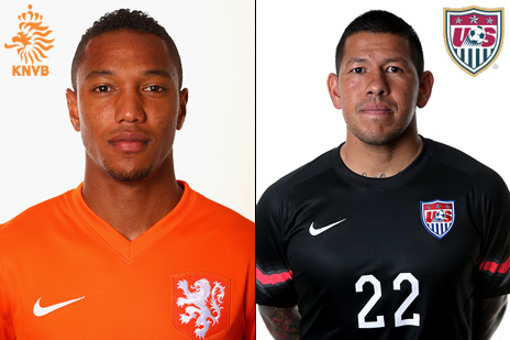 Photo: Netherlands' Jonathan De Guzman and USA's Nick Rimando (Source: FIFA.com)