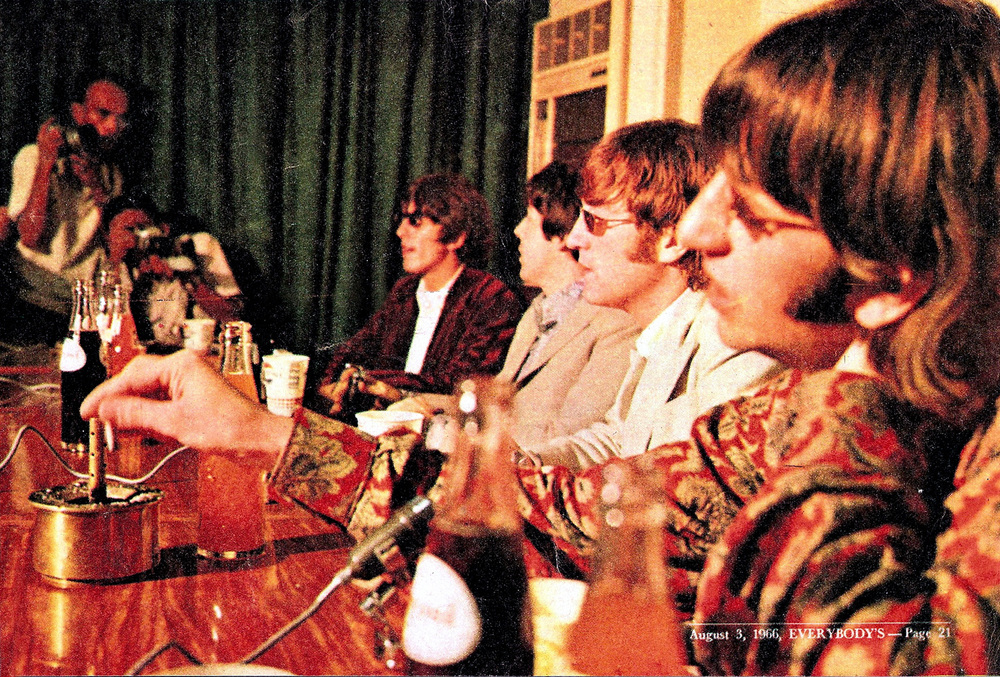 The Beatles at the press conference in Manila (Source: beatlesphotoblog.com)