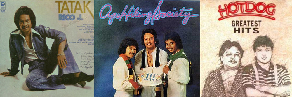 (L-R) Rico J. Puno (Source: edrlopez.blogspot.com), Apo Hiking Society (Source: ferddiemendoza.blogspot.com) and the Hotdog band (Source: metrokelan.com)