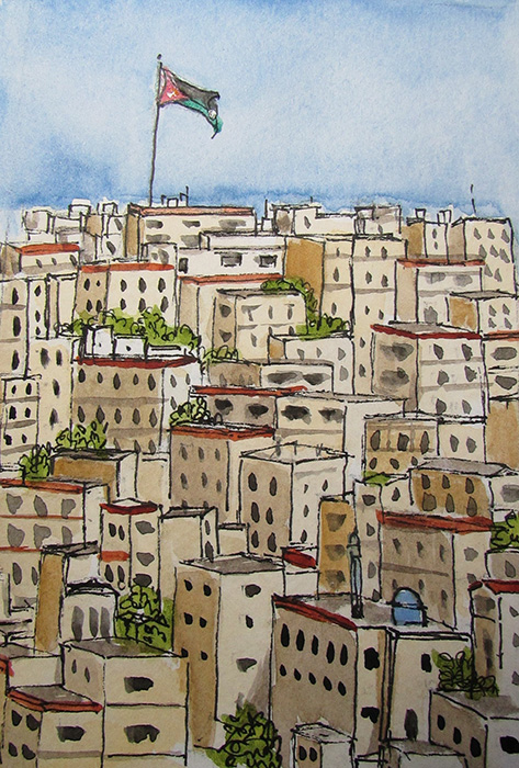 Old City Center – Amman, Jordan (Illustration by Jojo Sabalvaro-Tan)