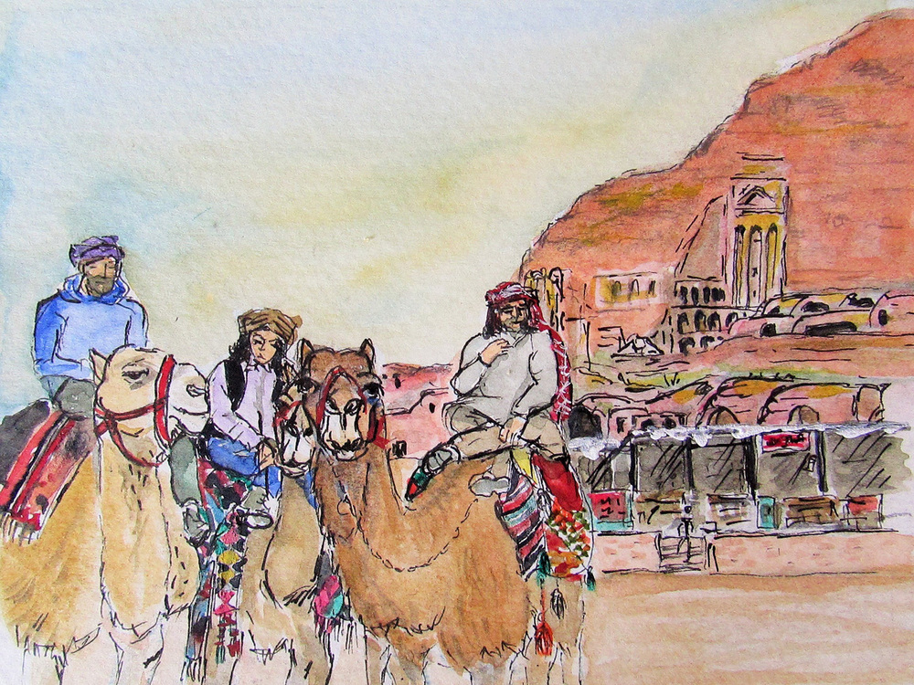 Camel Riders – Petra, Jordan (Illustration by Jojo Sabalvaro-Tan)