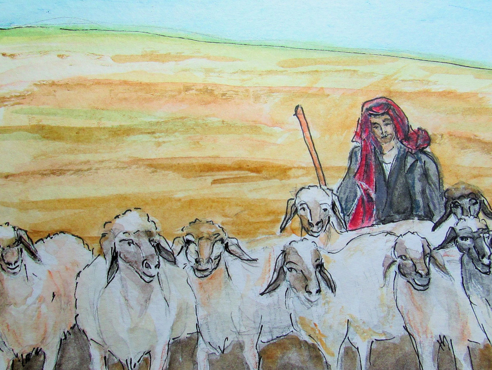 Bedouin Shepherd - Mount Nebo, Jordan (Illustration by Jojo Sabalvaro-Tan)
