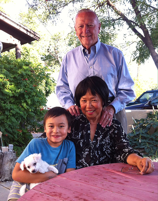 Celia Ruiz Tomlinson with husband,  Bruce Harders, grandson,   Oskar Andzic Tomlinson, and dog, Lolita  (Photo courtesy of Celia Ruiz Tomlinson)