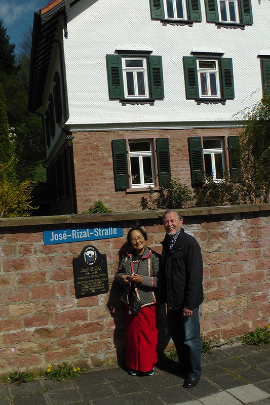Penelope V. Flores and Sir Rainer J. Weber in front of the Protestant vicarage in Wilhelmsfeld, where Rizal had stayed for a few months in 1886 as a guest of Pastor Karl Ullmer and where he finished writing his  Noli Me Tangere.  (Photo courtesy of Sir Rainer J. Weber)