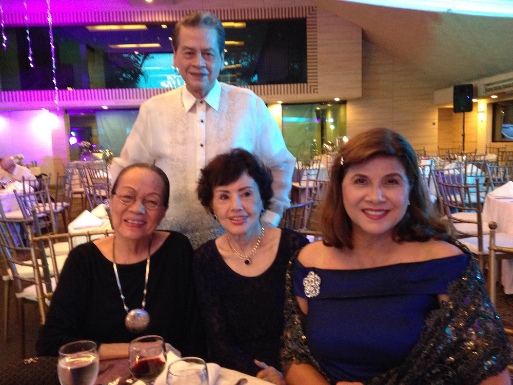 Caridad Sanchez (left) today with (L-R) Delia Razon, Imelda Ilanan, and Pepito Rodriguez (standing) at the Anson Roa-Rodrigo wedding in June (Photo courtesy of Cathy S. Babao)