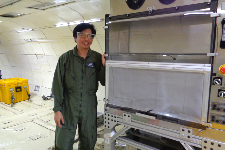 Apollo Arquiza beside a space galley looks like aboard a zero gravity G-Force 1 plane (Photo from NASA/JPL/Cornell)
