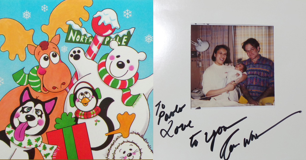 The Christmas photocard signed by Robin Williams (Photo courtesy of Chary Ozaeta-Gohh)