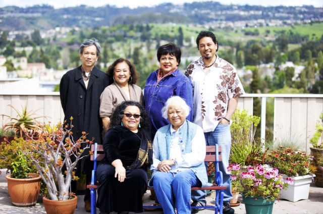 "Editors of  ""Beyond Lumpia, Pansit and Seven Manangs Wild""  (Standing L-R):  Edwin Lozada,  Eleanor Hipol Luis, Evelyn Luluquisen, Tony Robles. (Seated)  Myrna Ziálcita,   Evangeline Canonizado Buell (Source: asianbookcenter.com)"