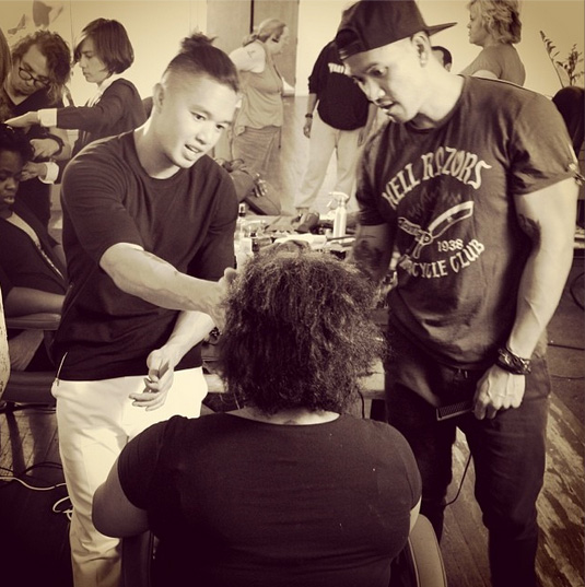 My brother and I partnering up. Beautifying the transgender community at the finishing school. (Photo by Devin Masga)