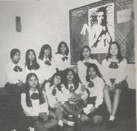Margie Moran (right) and author (1st row, 3rd from left) during their high school days at St. Therea's College in Manila (Photo courtesy of Marlina Gonzalez)