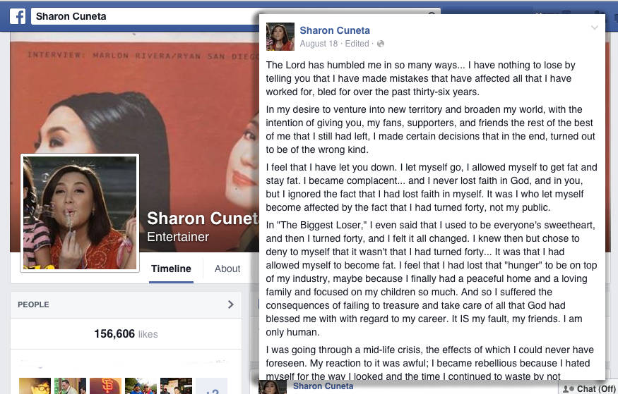 Sharon Cuneta's facebook post on August 18, 2014 (Source: facebook)