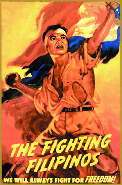 """The Fighting Filipinos"" poster was drawn by Filipino artist R. Isip to commemorate the first anniversary of the fall of Bataan and Corregidor. The Philippine Commonwealth Government in exile in Washington, D.C. printed and distributed 15,000 copies to schools and associations throughout the United States."