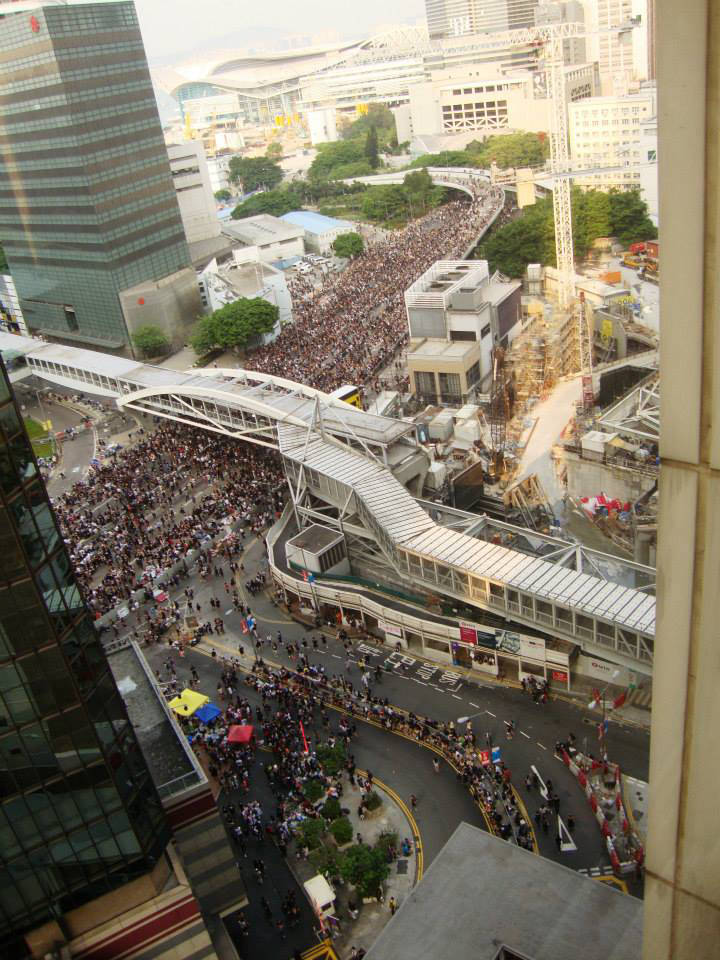 An aerial shot at about 3:00 pm when the crowds started swelling by the thousands again. (Photo by Daisy CL Mandap)