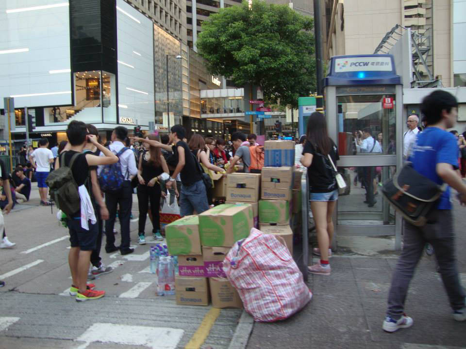 Protesters get lots of donated supplies. (Photo by Daisy CL Mandap)
