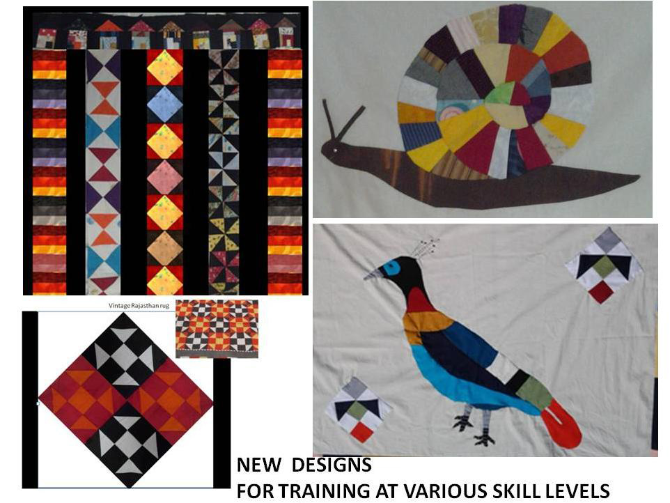 Based on feedback and exploring suitable quilt designs, about 20 new patterns are made as examples for the women to stitch by hand. These are some of the 2014 patterns to be introduced. (Photo courtesy of Evelyn Domingo-Barker)