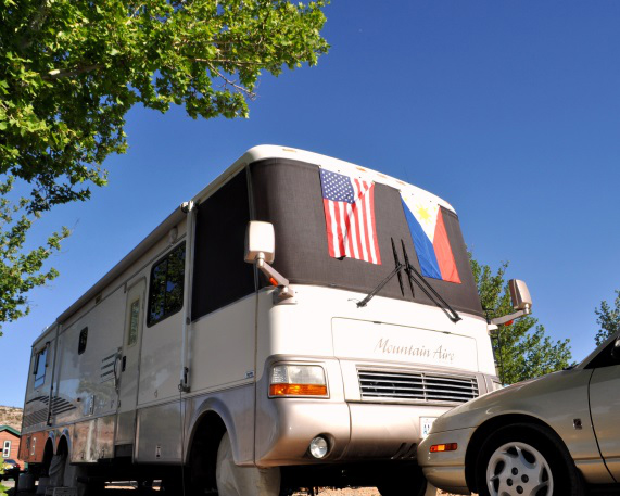 The Colborns' RV which was used by the couple to visit 49 states in four years (Photo courtesy of Carolina Esguerra Colborn)