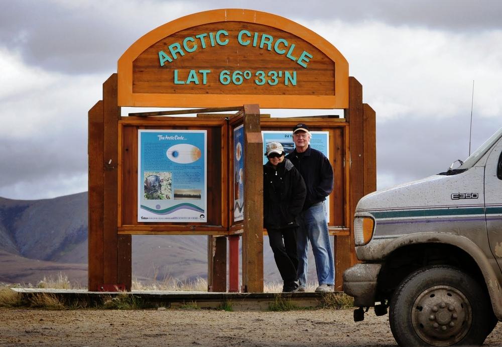 The Colborns reaching the Arctic Circle through Yukon territory (Photo courtesy of Carolina Esguerra Colborn)