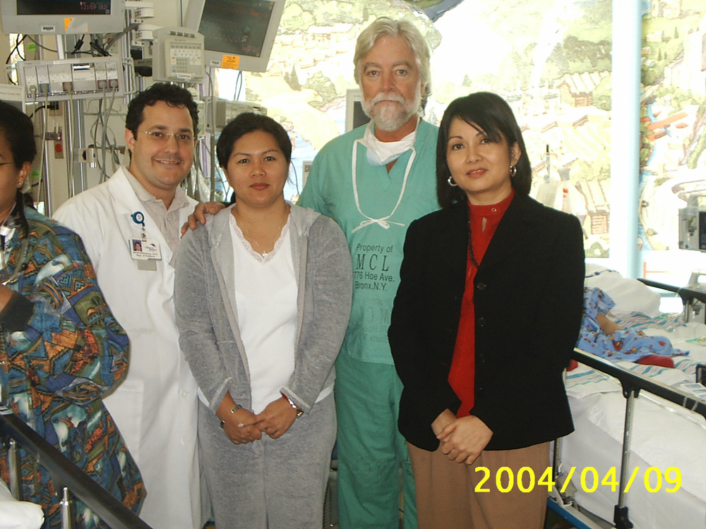 The Montefiore Team - Neurosurgeon Dr. James Goodrich (right) and  cranio-facial plastic surgeon,  Dr. David Staffenberg. With Arlene Aguirre and Maria Carmen Sarmiento (Photo courtesy of Maria Carmen Sarmiento)