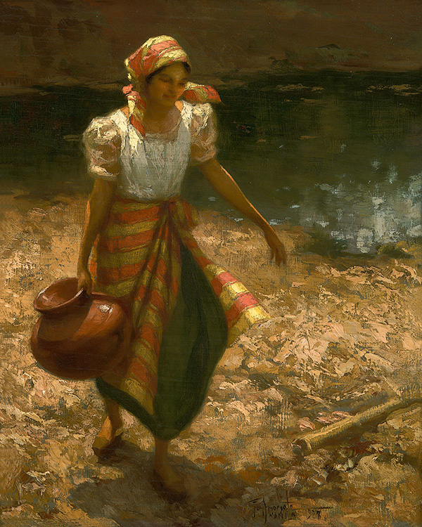 "Fernando Amorsolo's ""Water Carrier,"" which illustrates Carreri's depiction of women during that time (Source: frazerfinearts.com)"