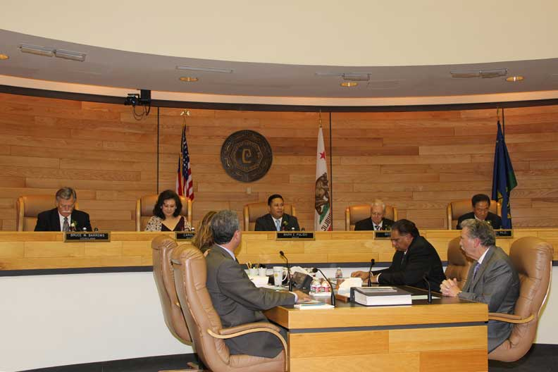 Mayor Pulido comments during a Cerritos city council session (Photo courtesy of the City of Cerritos).